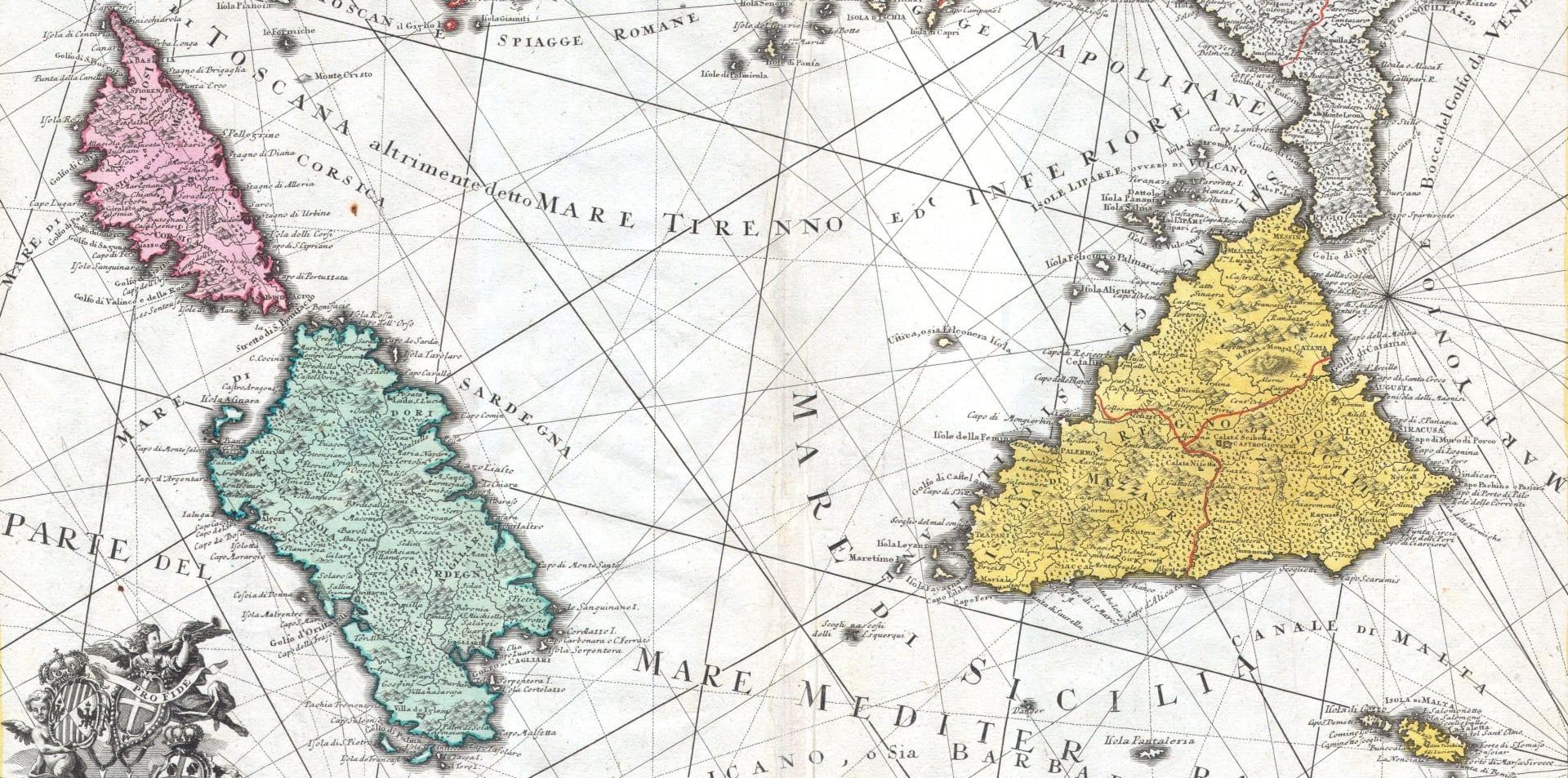 Корсика и Сардиния, античная карта