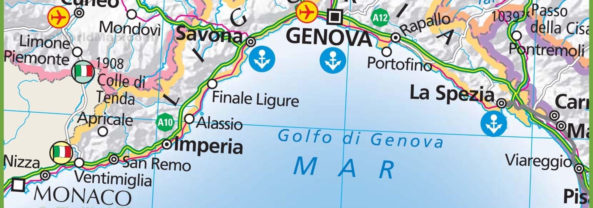 Италия, Лигурия на яхте, карта