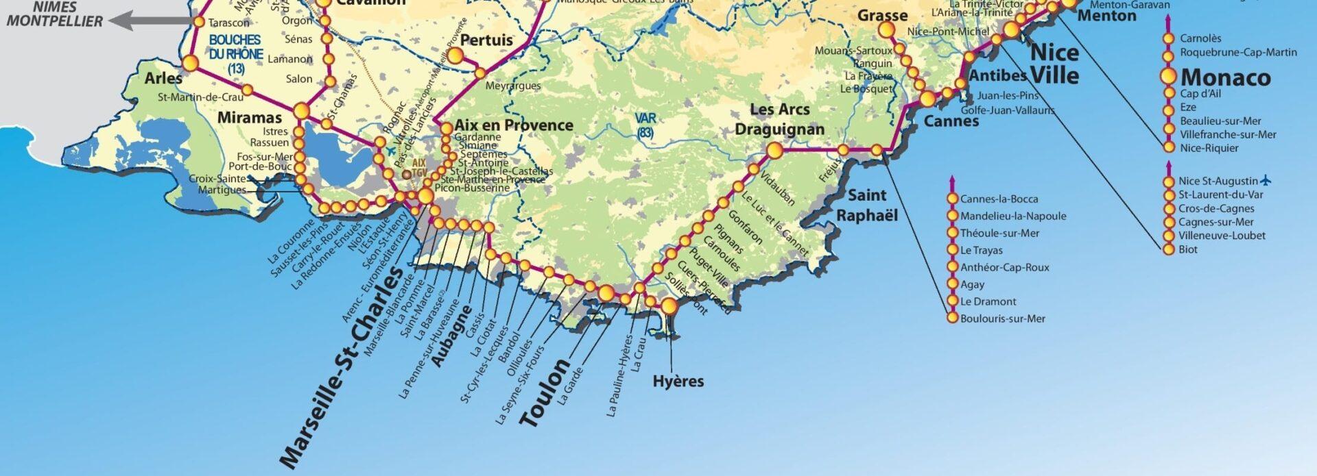 Франция и Монако, карта круиза на яхте