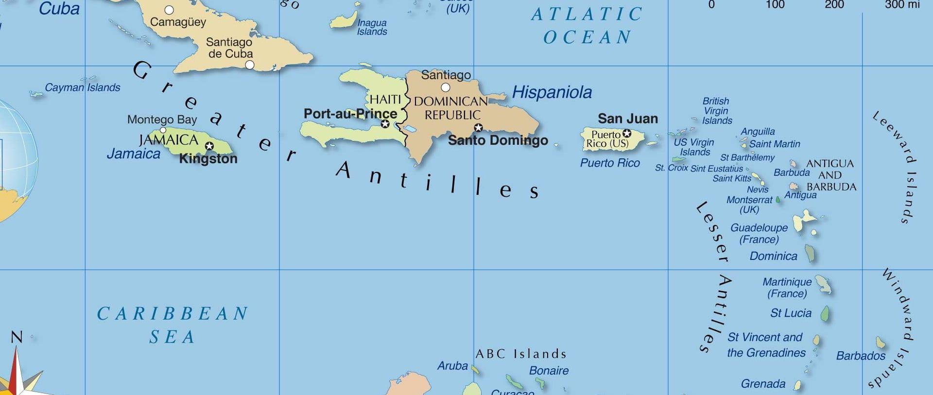 Карта Карибы