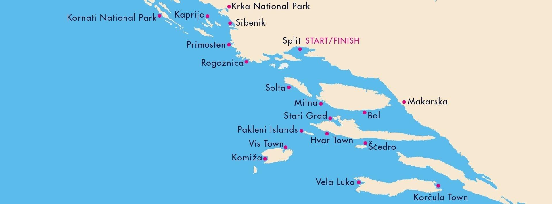 Путешествие на супер-яхте, карта Хорватии