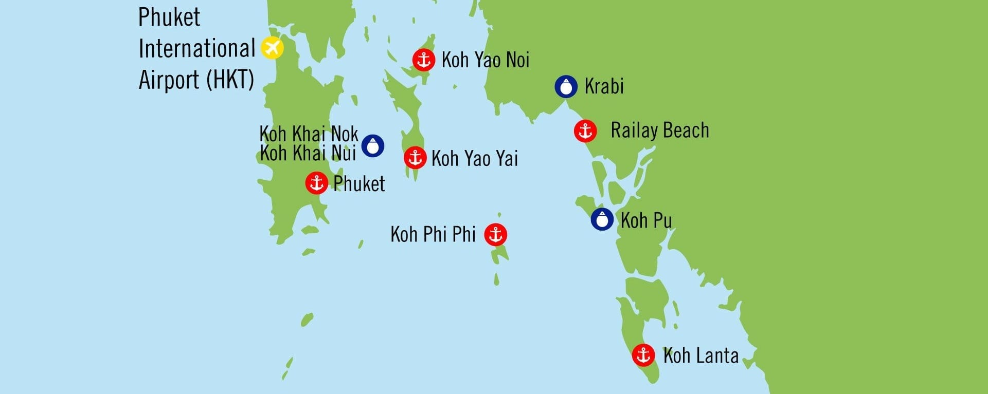 Карта, план путешествия на элитной яхте в Тайланде